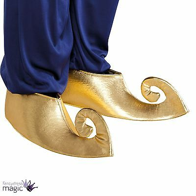 *Sultan Genie Aladdin Genie Fancy Dress Arabian Prince Costume Gold Shoe Covers*