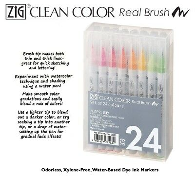 ZIG Kuretake Clean Color Real Brush Watercolour Pens (Set Of 24)