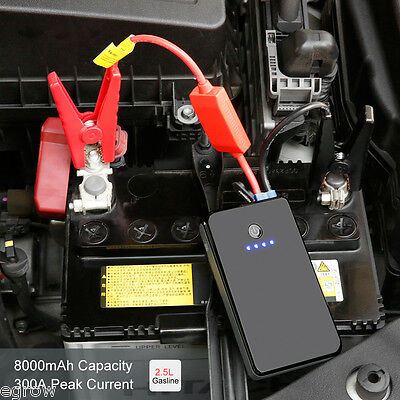 12v Portatile Auto Jump Starter Power Bank CARICA BATTERIA BOOSTER LED 8000mAh