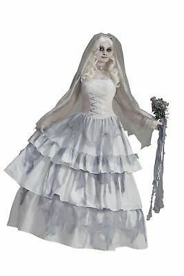 Victorian Corpse Ghost Bride Womens Deluxe Adult Fancy White Dress Costume