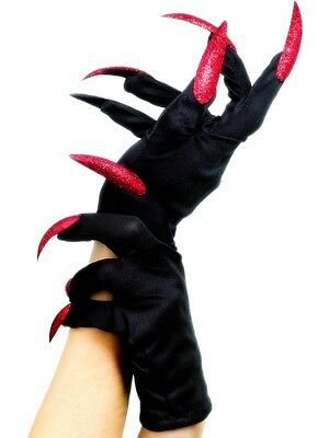 Halloween Fancy Dress Gloves Black with Red Glitter Fake Nails by Smiffys New