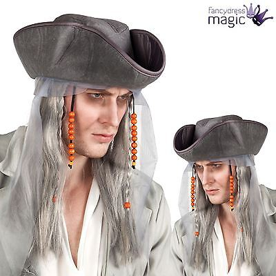 Adult Mens Grey Ghost Pirate Wig And Hat Halloween Fancy Dress Costume Accessory