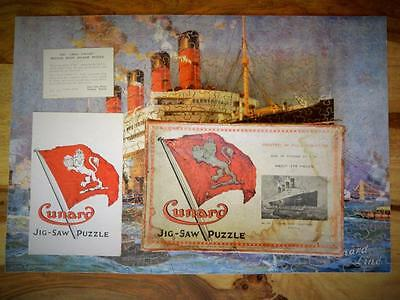 """Chad Valley Rare 1929 Cunard """"aquitania"""" Boxed Complete Wooden Jigsaw + Leaflets"""