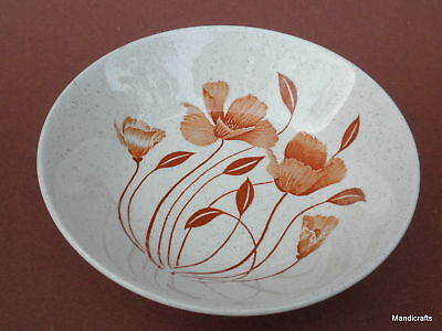 """J & G Meakin Cereal Soup Bowl (s) 6.5"""" Autumn Flowers c1977 Stoneware Poppies UK"""