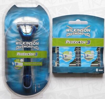 Wilkinson Sword Mens Protector 3 Razor & 8 Extra Blades Ships Same Day up to 4PM
