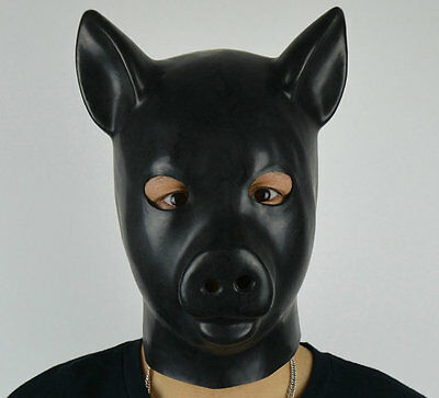 Latex Rubber Black Pig Mask Full Head Gum Hood Fetish Animals Stag Night Gimp