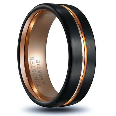 8MM Rose Gold Tungsten Carbide Ring Men's Wedding Engagement Band Jewelry Sz7-12