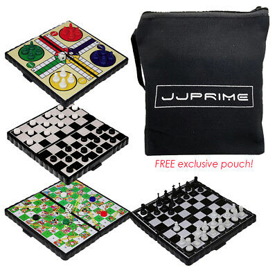 Set of 4 Magnetic Travel Board Games Chess Ludo Snakes and Draughts Game + Pouch