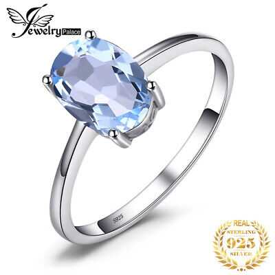 JewelryPalace 1.5ct Natural Sky Blue Topaz Birthstone Ring 925 Sterling Silver