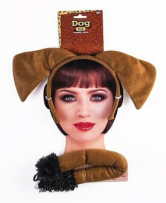 Brown Puppy Dog Kit Ears Tail Pet Animal Halloween Adult Costume Accessory