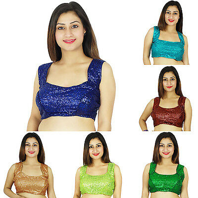 New Women Designer Readymade Partywear Stitched Sleeveless Saree Choli Blouse