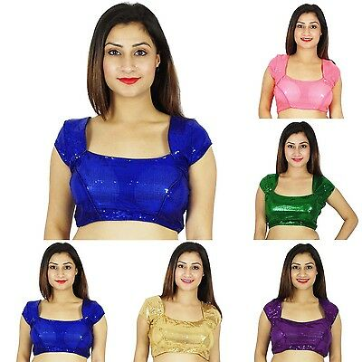 New Fashion Indian Women Ethnic Stitched Short Sleeve Saree Blouse Summer Top