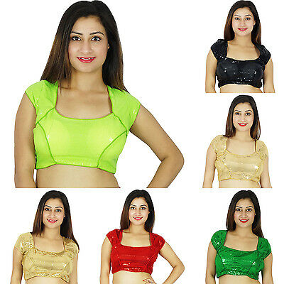 Gorgeous New Indian Women Ethnic Stitched Summer Short Sleeve Saree Top Blouse