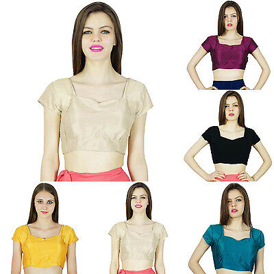 Readymade Summer Indian Fashion Casual Short Sleeve Saree Stitched Blouse