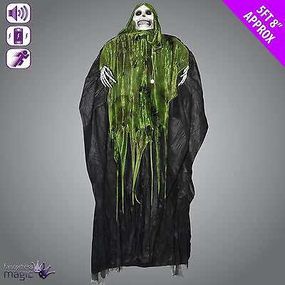Animated Shaking Hanging Skeleton Grim Reaper Ghoul Halloween Decoration Prop
