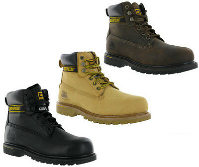 CAT Caterpillar Holton Safety Leather Steel Toe Cap Mens Work Boots UK6-15