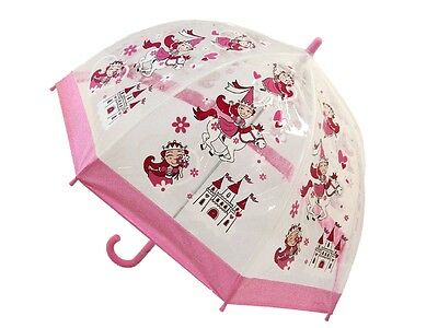 Bugzz Kids Pink Princess Brolly Dome Childrens Childs PVC Umbrella Fun Umbrellas