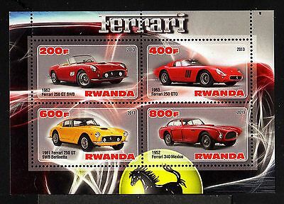 B43-RWANDA-CARS FERRARI MNH** BLOCK.Local private issue.2013.Transportes.AUTOMOB