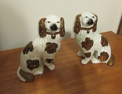 Antique pair Staffordshire copper luster spaniel dogs 6 inches 19th