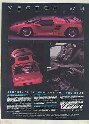 1991 Vector W8 Brochure ww1523