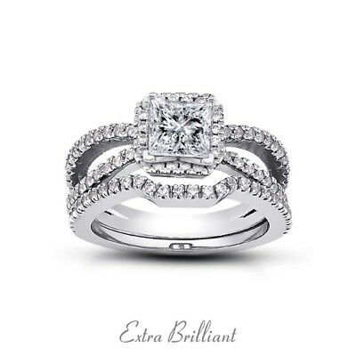 1.38ctw E/SI1/Ideal Princess Cert Diamonds Platinum Split Shank Bridal Set 10.4g