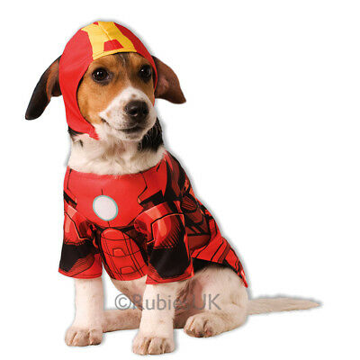 Pet Dog Cat Iron Man Costume Rubies Fancy Dress Avengers Outfit Superhero S-XL