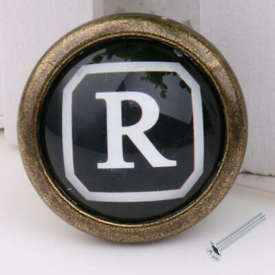 Antique Brass Knob Cabinet Door Drawer Dresser Handle Pull Hardware Letter R