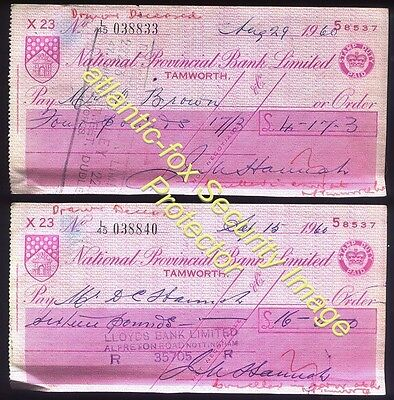1960 Staffs, TAMWORTH 2 x National Provincial Bank Cheques