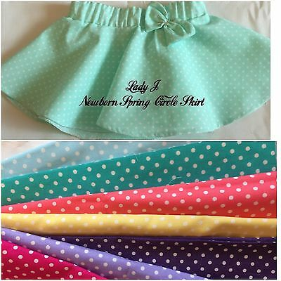 Lady J 💕 Handmade Newborn Cotton Circle Skirt With Bow Detail 💕 Age 0-3 Mths