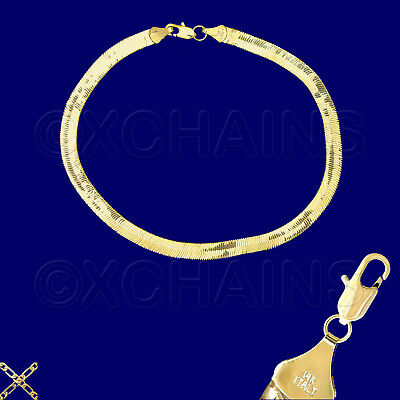 "14K ITALY GOLD PLATED 5mm HERRINGBONE CHAIN 9.5"" ANKLET BRACELET GUARANTEED H5C"
