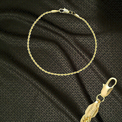 """14K ITALY GOLD PLATED 2mm ROPE CHAIN 7.5"""" QUALITY BRACELET GUARANTEED R2A"""