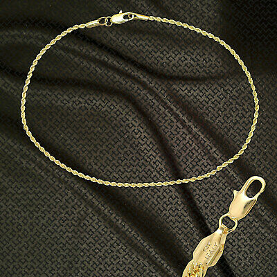 """14K ITALY GOLD PLATED 2mROPE CHAIN 10.5"""" QUALITY ANKLET BRACELET GUARANTEED R2C2"""