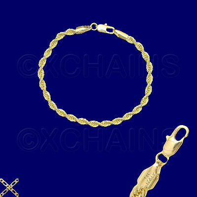 """14K ITALY GOLD PLATED 4mm ROPE CHAIN 7.5"""" QUALITY BRACELET GUARANTEED  R4A"""