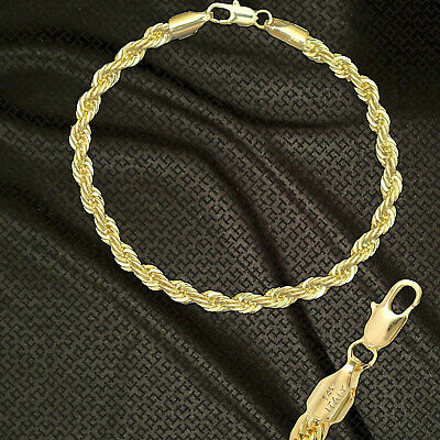 """14K ITALY GOLD PLATED 6mm ROPE CHAIN 9.5"""" QUALITY ANKLET BRACELET GUARANTEED R6C"""