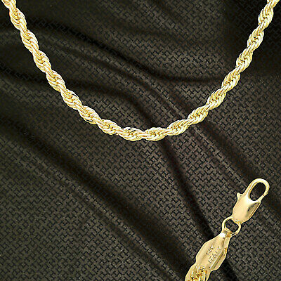 "14K ITALY GOLD PLATED 6mm ROPE CHAIN 20"" QUALITY GUARANTEED SAME DAY SHIP R6F"