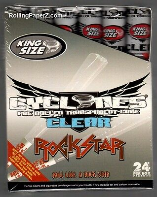 Box 24 Cyclones ROCK STAR King Size Clear Flavored Pre Rolled Cones NON TOBACCO