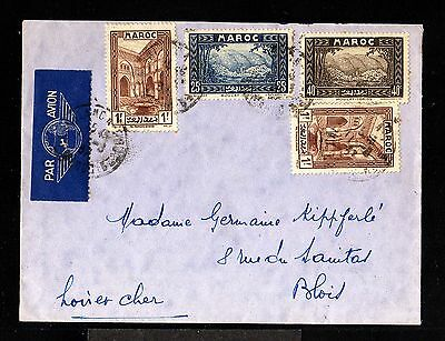 12160-MOROCCO-AIRMAIL COVER CASABLANCA to BLOIS(france)1937.WWII.Marruecos.MAROC