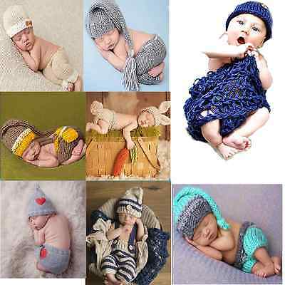 Cute Newborn Baby Girls Boys Crochet Knit Costume Prop Outfits Photo Photography