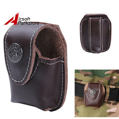 Tactical Lighter Pouch Case Bag Brown Leather With Belt Loop Clip