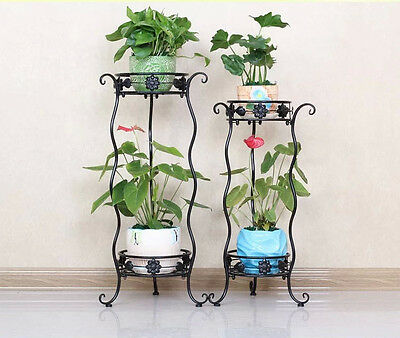 2 Tier Metal Lacy Garden Plant Stand Indoor Outdoor Flower Display Patio Rack