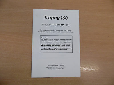 MGF Trophy 160 Owners Handbook / Manual  Book Supplement