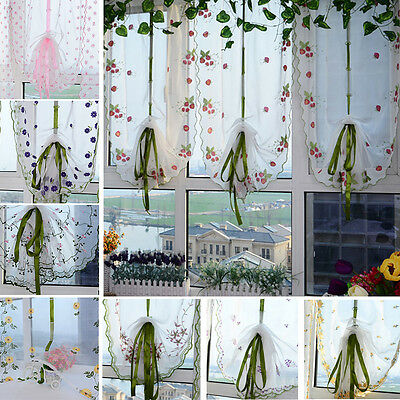 1Pcs Window Kitchen Bathroom Lifting Roll Up Rome Curtain Screen Embroidered US