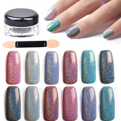 2g/Box Rainbow Chrome Pigments Dust Nail Art Holographic Silver Shimmer Powder