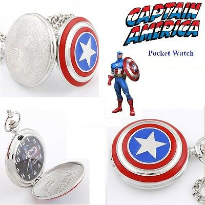 Captain America Avengers Pocket watch necklace Boys Birthday Gift Kids - Perth