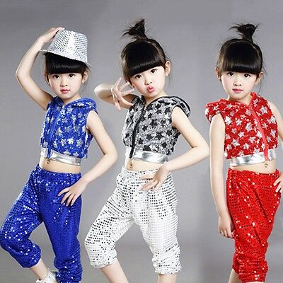 New Kids Dancewear Jazz Hip Hop Modern Dance Costume Sequined Outfits Top+Pants