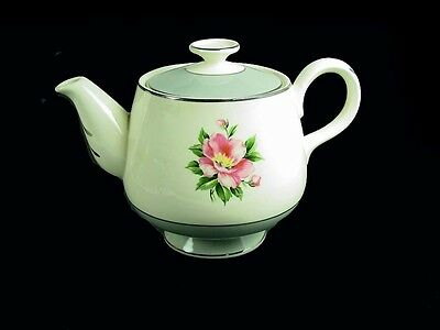 Cavalier Eggshell / Pink Rose / Empire Grey China Tea Pot by Homer Laughlin
