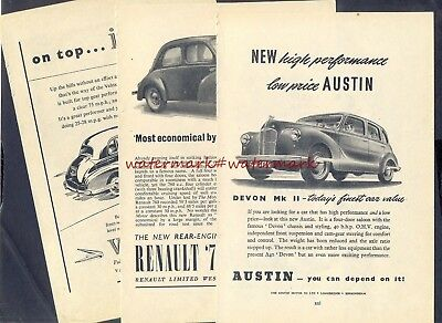 NEW CARS for 1949 - 3 Vintage Original (NOT Repro!) ADVERTISEMENTS. Free UK Post