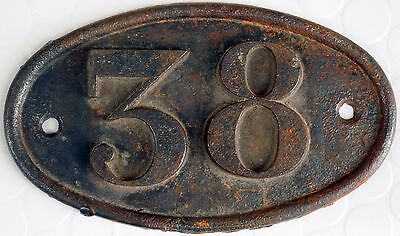 Old big oval French house number 38 door gate plaque plate cast iron metal sign