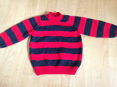 """Fab NEW Hand Knitted Baby Jumper Striped Like Dennis Menace Design 22"""" 12-18m"""