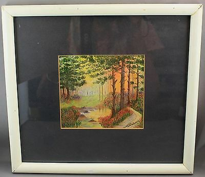 Antique Framed Watercolour Painting/forest Scene-Signed A.watson